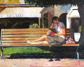 """Original oil painting, impressionism, """"Reading by the Gelato Shop"""", 18x24"""""""