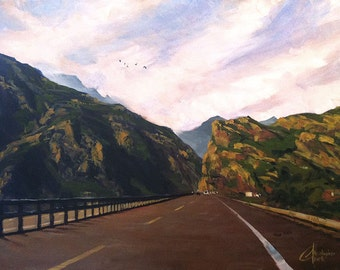 """Original oil Italy Tuscany painting, """"Driving Through the Italian Countryside"""", 18x24"""""""
