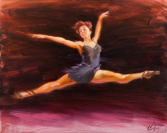 "Original oil dance ballet painting, ""Effortless"", impressionism female figure dancing art"