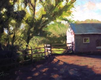 "Original Golden, Colorado landscape farm painting, ""Barn at Sunrise"", 18x24"""