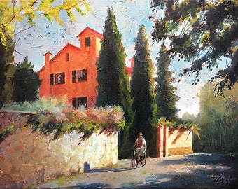 Original Oil on Canvas Painting, Morning Ride, contemporary Italian cityscape street scene by Christopher Clark
