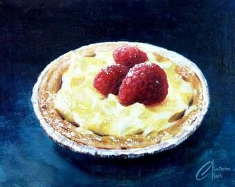 "Original oil painting, 10""x8"", ""Raspberry Tart"""