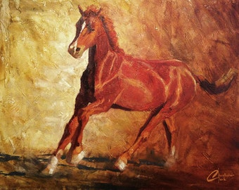 """Original oil horse painting, """"Running Free"""", lots of texture, 30x40"""""""