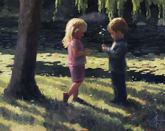 Original oil painting, Young Love, romantic painting of two children, youth and beauty, contemporary art