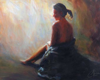 """Original oil painting, """"Quiet Morning"""", impressionism female figure painting"""