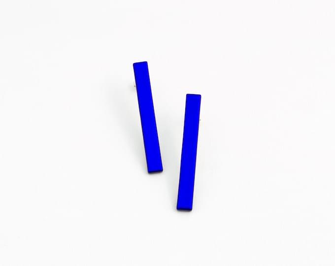 Rectangular Blue Earrings