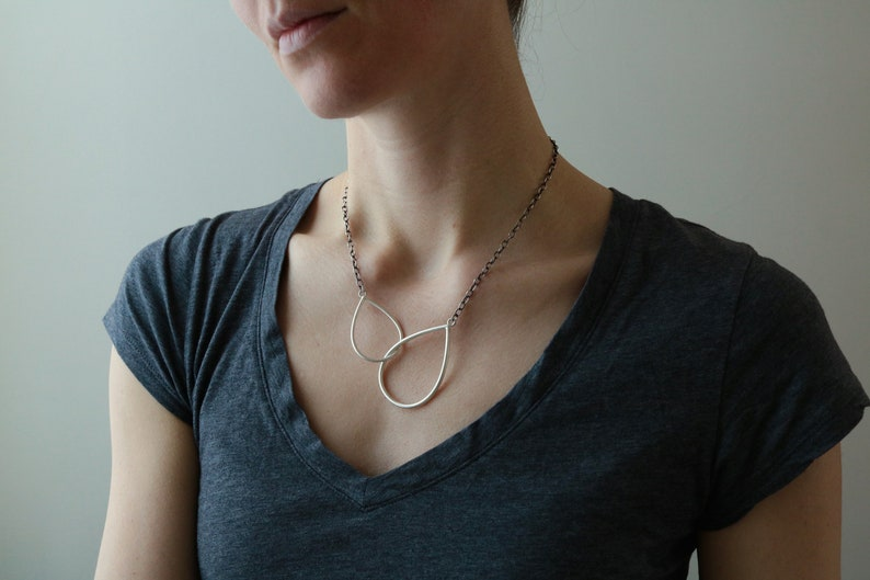sterling silver interlocking double teardrop necklace