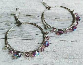 Amethyst Purple Wire Wrapped Bohemian Hoop Earrings << hoop earrings << silver hoops << bohemian jewelry << hoops < boho jewelry
