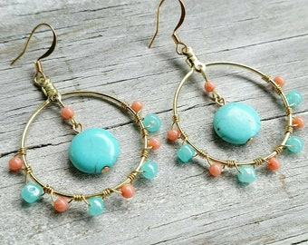 Turquoise and Coral Wire Wrapped Bohemian Hoop Earrings << hoop earrings << gold hoop << bohemian jewelry << hoops << wire wrapped jewelry