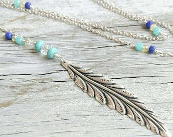 """Silver Feather Necklace 32"""" long Wire Wrap Turquoise and Blue beaded Chain >> Bohemian Necklace  >>beaded necklace >> bohemian jewelry"""