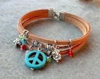 Peace snd Crystal Cuff Bracelet