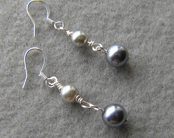 Wire wrap Glass Pearl Earrings in two shades of Gray