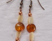 Carnelian Coins With White Mother of Pearl and Copper Dangle Earrings