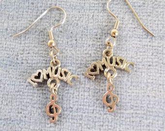 I Heart Music Silvertone Charm Dangle Earrings