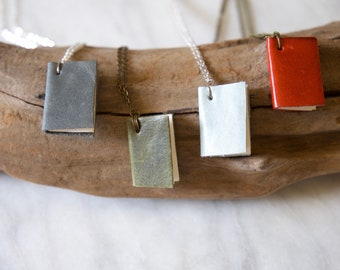 Handmade custom journal book necklaces - genuine leather and paper!