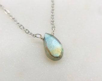 Labradorite flashy teardrop necklace