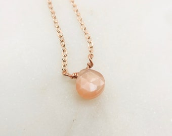 Tiny peach moonstone necklace (your choice of chain color!)