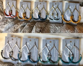 Custom hammered wire & leather hoop earrings