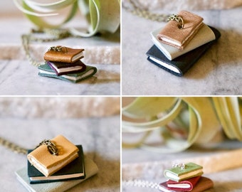 """Custom """"book stack"""" long necklace in your choice of colors - book lover / teacher / librarian / writer gift!  READ DESCRIPTION"""