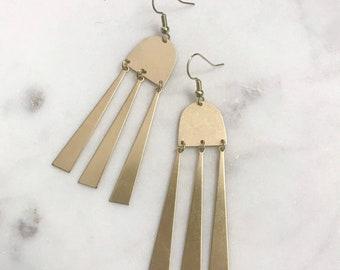 Triple-bar geometric earrings