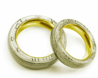 Personal paper wedding bands with 14K Gold sleeves - custom made of your love papers!