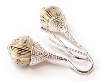 earrings book pages and silver acorn drops
