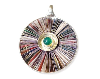 Colour rays pendant 48 mm round bowl, silver, book pages, green agate