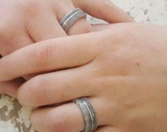 eternal paper wedding bands with silver layer  - custom made of your papers - durable and waterproof