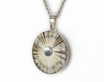 Sunray halo book pendant 36 mm - book pages and sterling silver 925