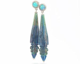 Opal ornament book paper earrings