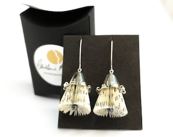 Paper jewel Book blossom eardrops silver bellflower