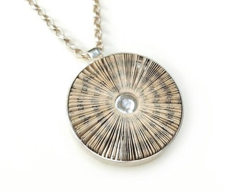 Literary halo - book pages and sterling silver pendant 30 mm, round disc pendant elegant