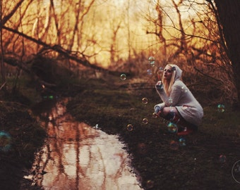 "Fae Bubbles Print ~ Mira Morningstar Signed Print 5x7"" or 12x8""  alternative, fairy tale photography"