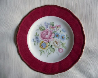 Hand painted plate, bone china plate, floral plate, 8ins china plate, kiln fired,