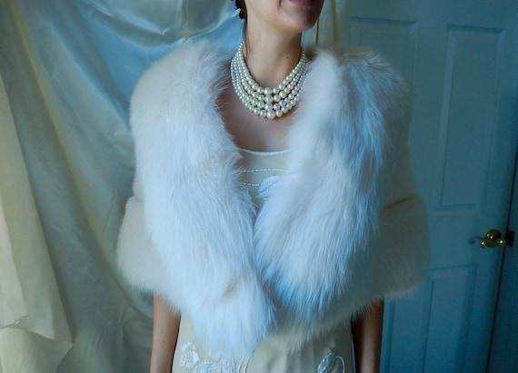 White Mink Stole - White Mink & Fox Cape - Bridal