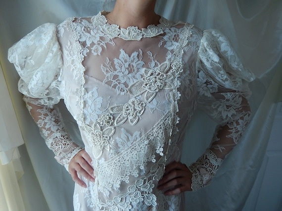 Lace Wedding Gown - Lace Boho Wedding Gown - Victo