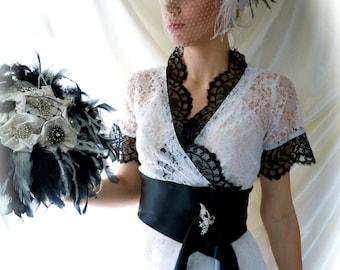 Wedding Gown - Wedding Dress - Black & White Wedding Dress - Lace Wedding Dress Top