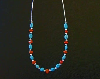 Kingman Turquoise, Apple Coral and Liquid Silver Necklace -Proceeds donated to Carter's Kids,a non profit, Building Playgrounds in America
