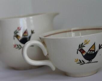 "Vintage Provencial Homer Laughlin Creamer and Tea Cup ""Rhythm"""