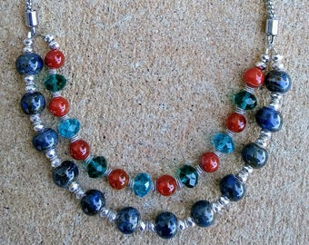 Silver, Blue, Amber Beaded Necklace