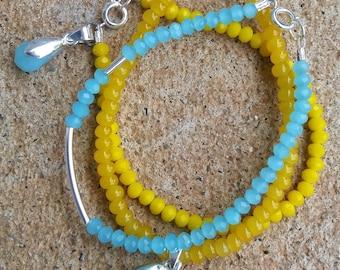 Yellow, Blue, and Silver Trio Bracelet Set