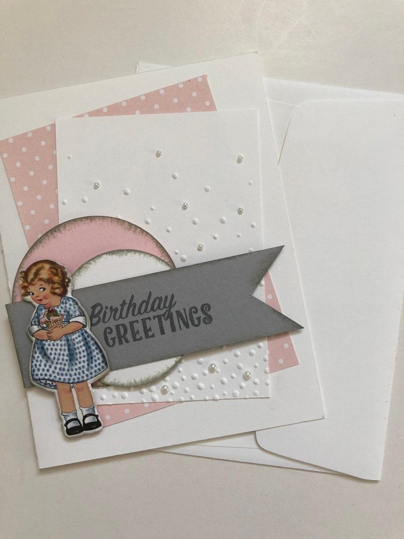 b9e6937bfd941 DIY Greeting Card Kit, Birthday Card Kit, Pink Birthday Card, Little Girl  Birthday Card, Handmade, 5 Cards