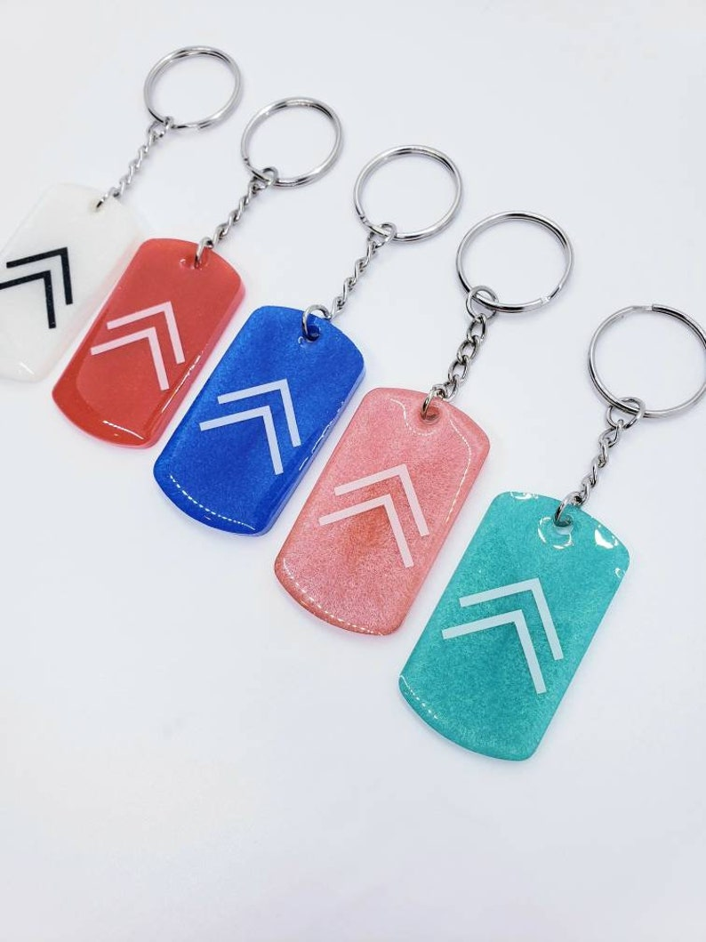 Rise  Tag Shaped Keychain  Positivity On The Go Keychains  Pick Your Color