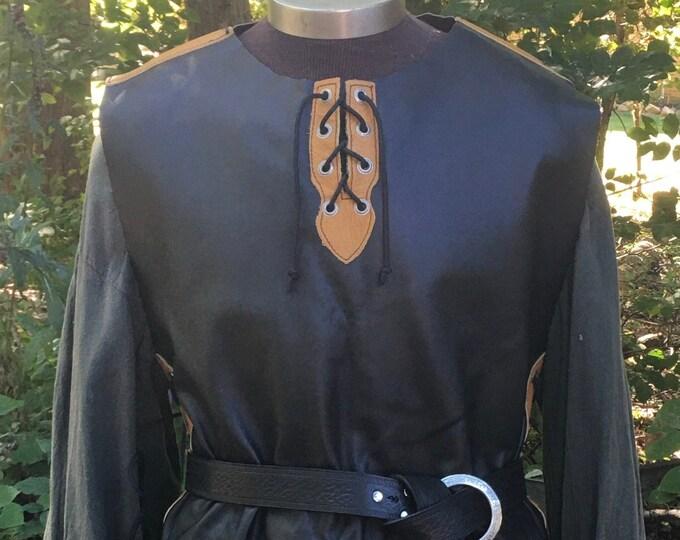 Black Mustard leather tunic celtic rogue knight ranger elf
