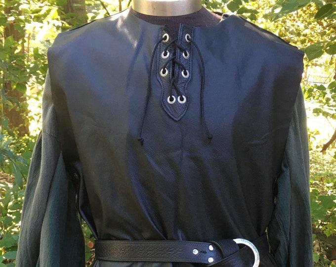 Black leather tunic celtic rogue knight ranger elf