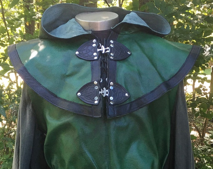 Green with black leather tunic and mantle set celtic rogue knight ranger elf