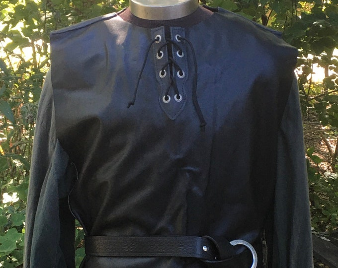 Black and gray leather tunic celtic rogue knight ranger elf