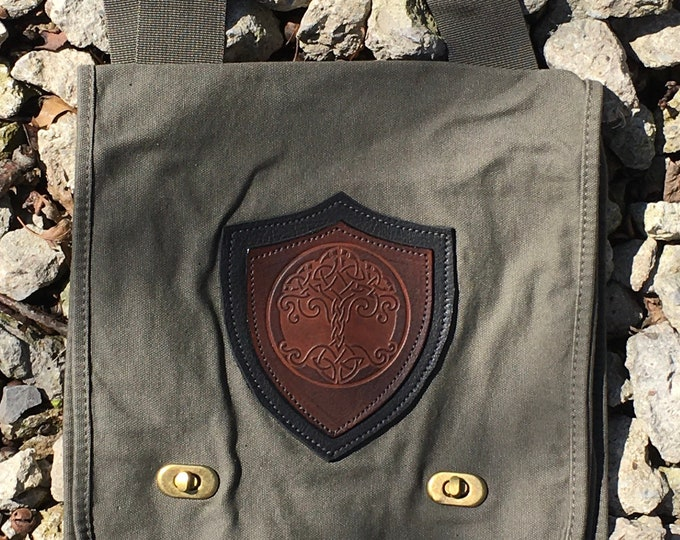 Canvas messenger bag with leather medallion tree of of life
