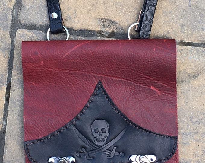 Messenger bag, tablet satchel hand stitched Kodiak oil tan Pirate goth skulls