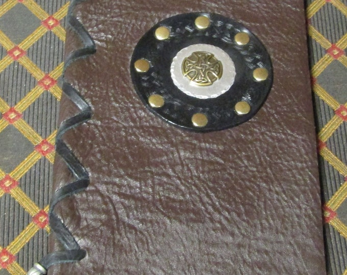 leather laced journal with celtic circle and medallion